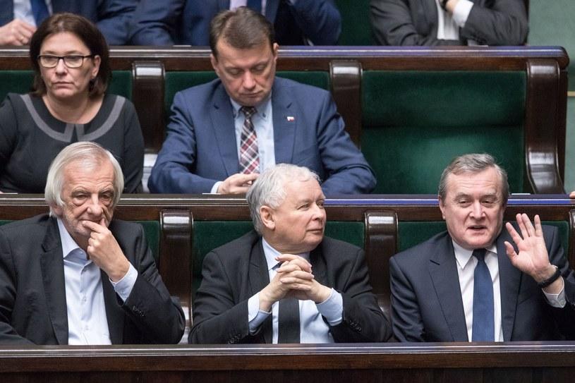 Piotr Gliński, Jarosław Kaczyński, Ryszard Terlecki, Mariusz Błaszczak, Beata Mazurek / Andrzej Iwanczuk /Reporter