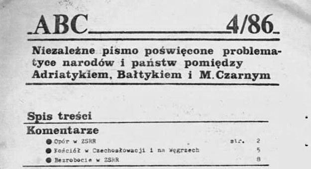 """Pismo """"ABC. Adriatyk, Bałtyk, M. Czarne"""" - fragment spisu tresci nr. 4/86 (źródło: Encyklopedia Solidarności) /INTERIA.PL"""
