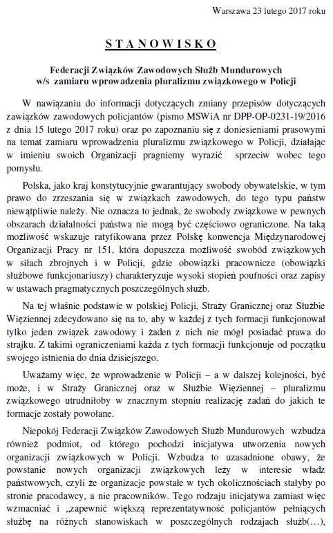 Pismo Federacji Związków Zawodowych Służb Mundurowych do MSWiA, strona 1 /Zrzut ekranu