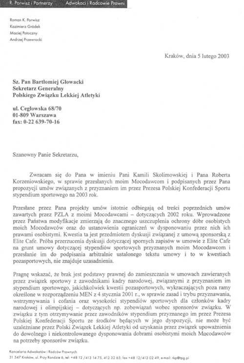Pismo pełnomocnika lekkoatlety do PZLA (kliknij, aby powiększyć) /
