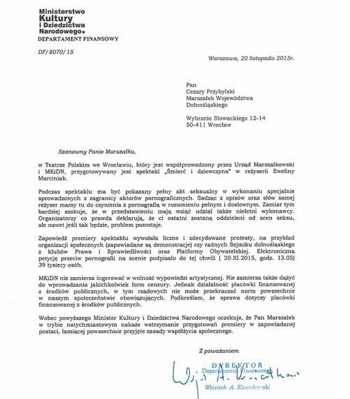 Pismo skierowane do marszalka dolnośląskiego /