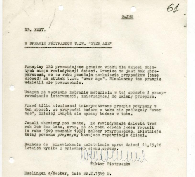Pismo sporządzone przez Wiktora Pietruszkę po powrocie z delegacji w 1949 r. Dokument znajduje się w Archiwum Akt Nowych /INTERIA.PL