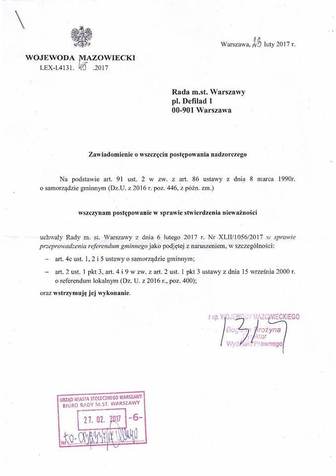 Pismo wojewody do radnych /PUSTE /