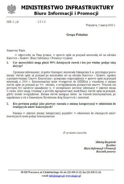 Pismo z ministerstwa /RMF