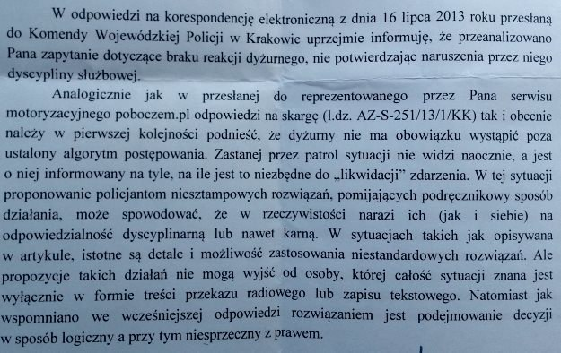 Pismo z wyjaśnieniem policji /