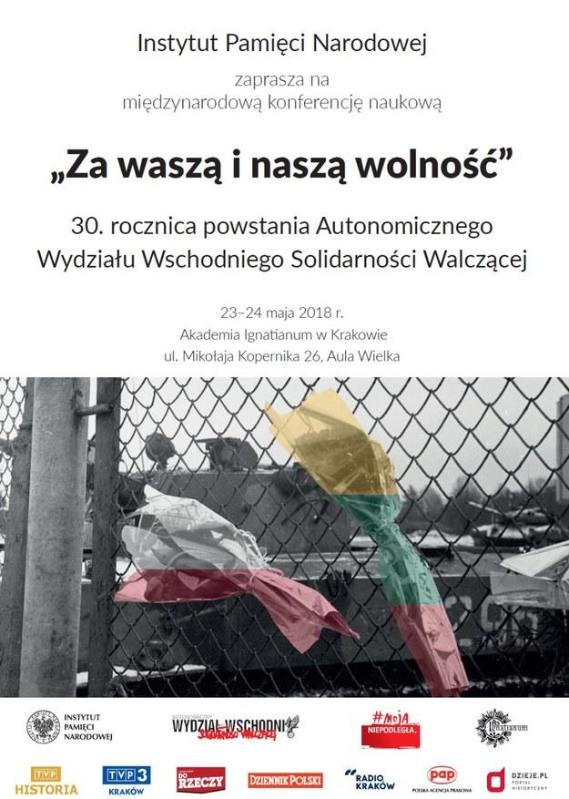 """Plakat konferencji """"Za waszą i naszą wolność"""" /materiały prasowe"""