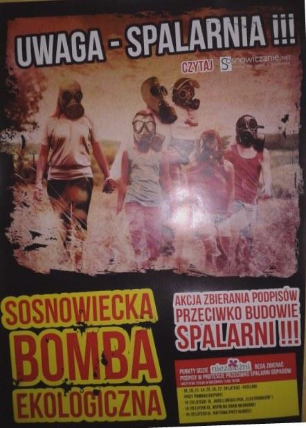 Plakat przeciwników budowy spalarni /Anna Kropaczek /RMF FM