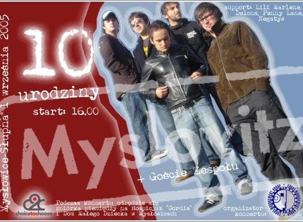 Plakat reklamujący 10-lecie Myslovitz /