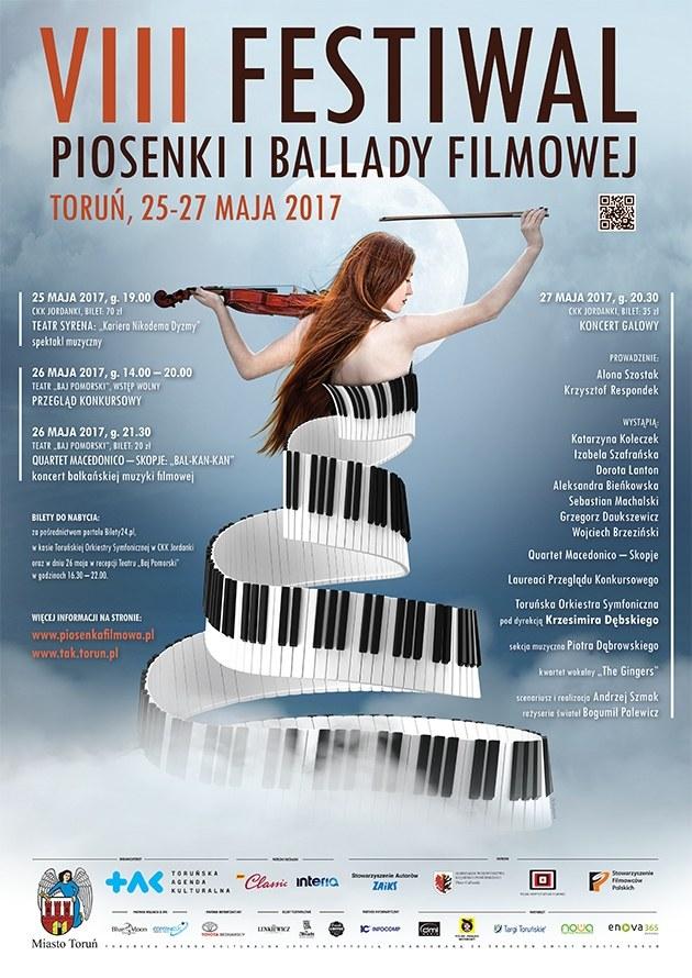 Plakat VIII Festiwalu Piosenki i Ballady Filmowej w Toruniu /materiały programowe