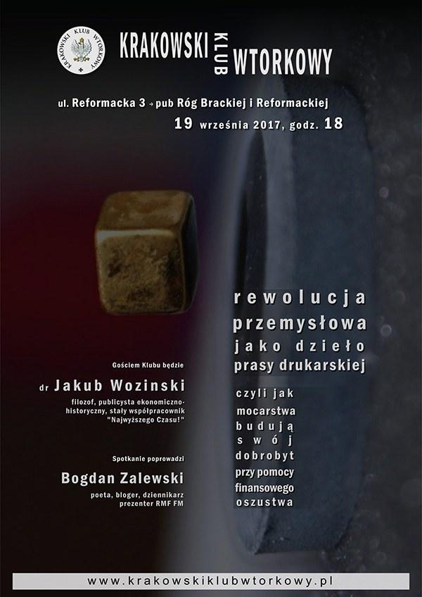 Plakat zapowiadający spotkanie Krakowskiego Klubu Wtorkowego /Krakowski Klub Wtorkowy /Materiały prasowe