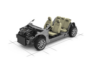 Platforma już nie decyduje o klasie: modułowa płyta podłogowa pozwala zmieniać długość auta czy rozstaw osi. Platforma MQB (fot.) ma służyć autom z grupy VW z poprzecznie ułożonymi silnikami – od Polo po Passata (na razie korzystają z niej nowe odsłony A3, Golfa, Leona i Octavii). To uniemożliwia ocenę auta na podstawie płyty podłogowej. /Volkswagen