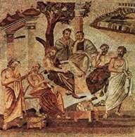 Platon ze swoimi uczniami w Akademii, mozaika z Pompejów /Encyklopedia Internautica