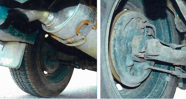 Po lewej: końcowy tłumik, po zimie, trzeba obejrzeć. Na sól nie ma mocnych. Po prawej: tylne zawieszenie wymaga przeglądów, zwłaszcza łożyska belki. /Motor