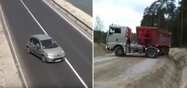 Po lewej pani w Citroenie C3, po prawej pan w ciężarówce - kto zawróci szybciej? /