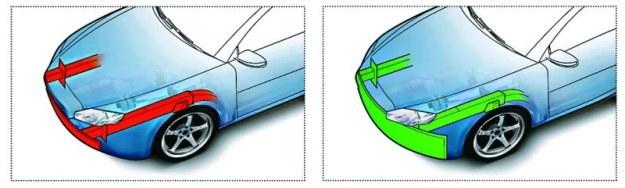 """Po lewej: taki przód samochodu nie rozprasza wystarczająco energii zderzenia. Po prawej: szeroka """"tarcza"""" ochronna przez całą szerokość i wysokość pasa przedniego spisuje się znacznie lepiej. /Motor"""