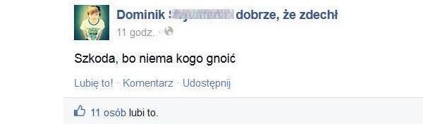 Po samobójstwie Dominka w sieci powstał fanpage, gromadzacy negatywne komentarze /Facebook /INTERIA.PL