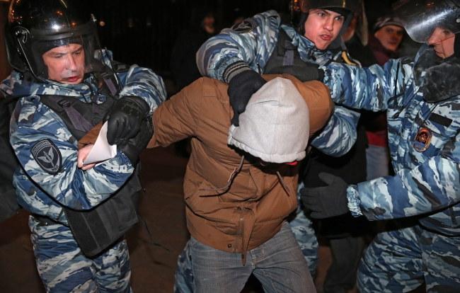 Podczas demonstracji doszło do masowych aresztowań /PAP/EPA/SERGEI ILNITSKY /PAP/EPA
