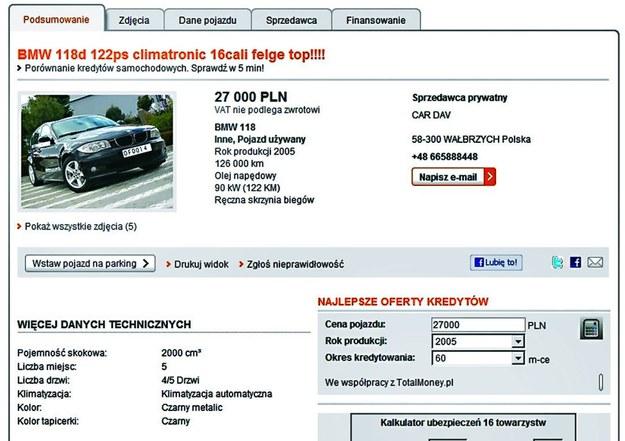 Podejście pierwsze: BMW kusi niską ceną i niewielkim przebiegiem. Fikcyjne tablice rejestracyjne uniemożliwiają sprawdzenie historii auta. Cena: 27 000 zł, przebieg: 126 000 km /Motor