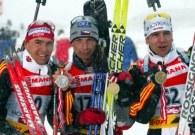 Podium biegu indywidualnego biathlonowych mistrzostw świata /AFP