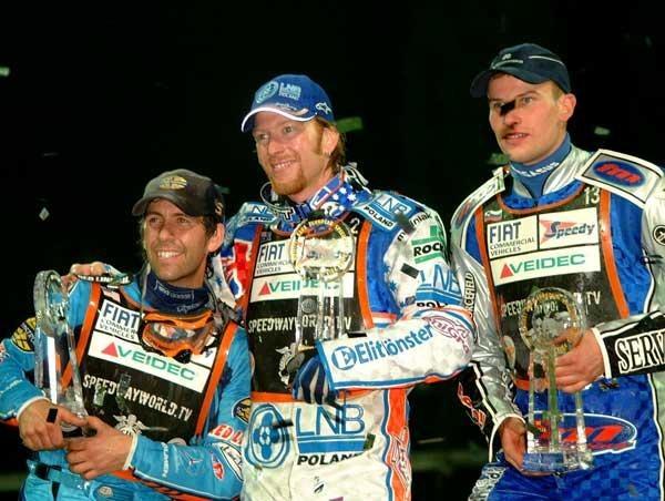 Podium GP Europy. Od lewej Greg Hancock, Jason Crump i Matej Zagar /Tomasz Szatkowski