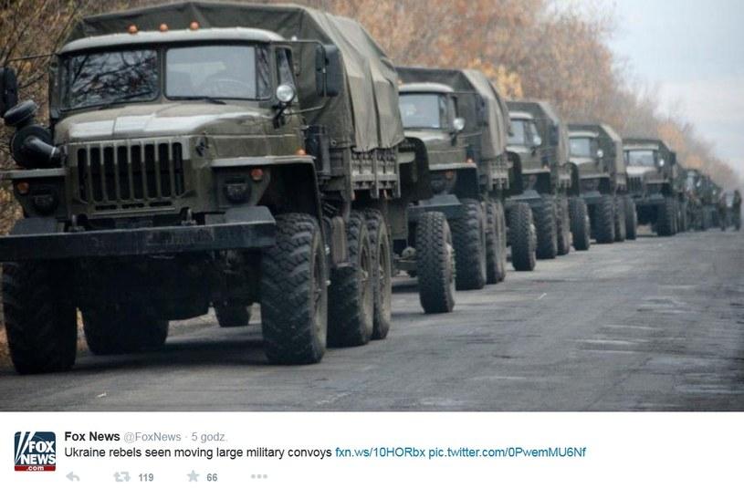 Pojazdy wojskowe widziane na wschodzie Ukrainy /Twitter