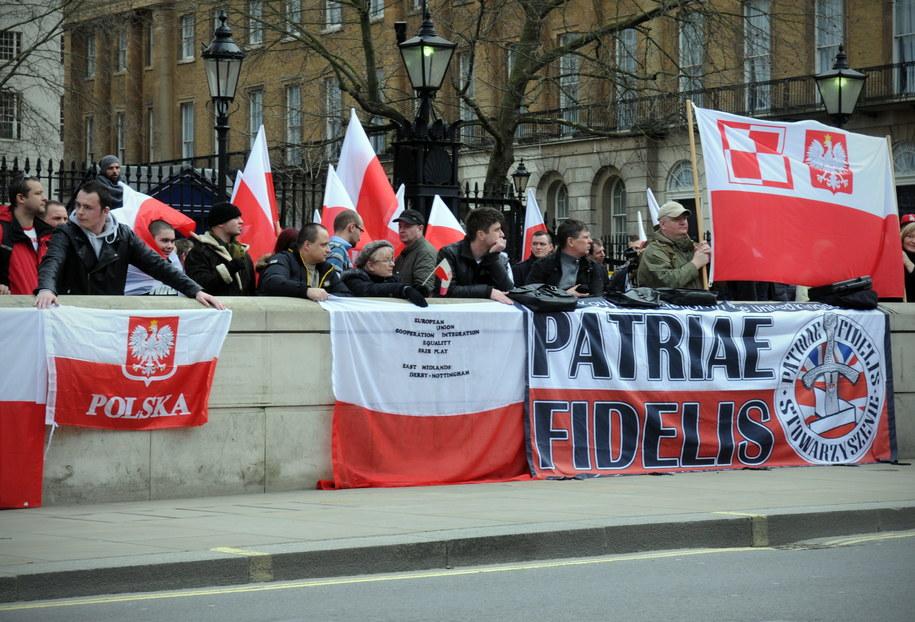 Polacy protestują przed siedzibą brytyjskiego premiera na Downing Street /Ela Walenda /PAP