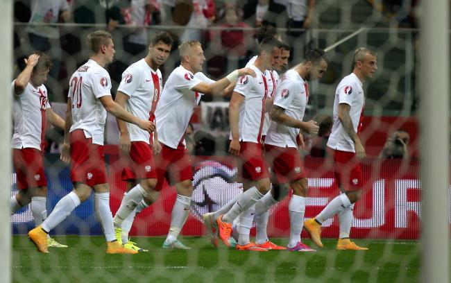 Polacy świętujący zdobycie gola przez Arkadiusza Milika /Bartłomiej Zborowski /PAP