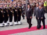 Polityków z Francji i Niemiec powitał we Wrocławiu prezydent Kwaśniewski /RMF