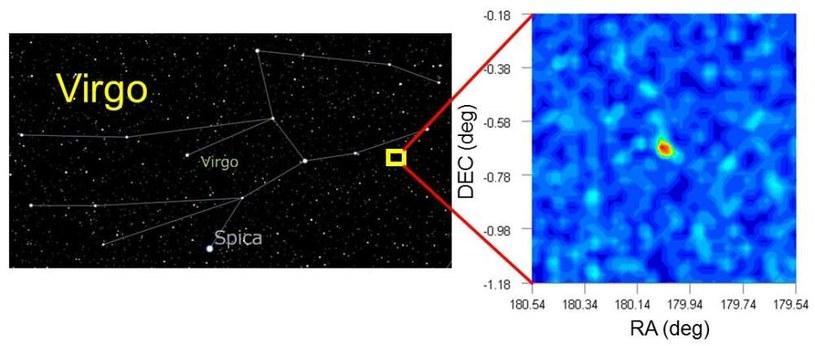 Położenie (po lewej) i wykres gęstości (po prawej) galaktyki Virgo I /materiały prasowe