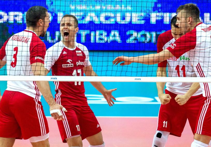 Polscy siatkarze w meczu Ligi Światowej /Andrzej Grygiel /PAP