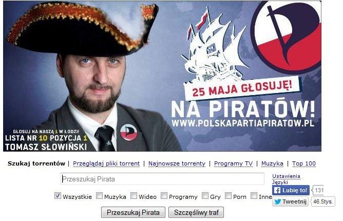 Polska Partia Piratów promuje swoich kandydatów w serwisie z torrentami Pirate Bay /materiały prasowe