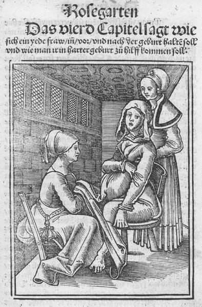 Poród, rycina niemiecka, prawdopodobnie XVI w. /Agnieszka Lisak – blog historyczno-obyczajowy