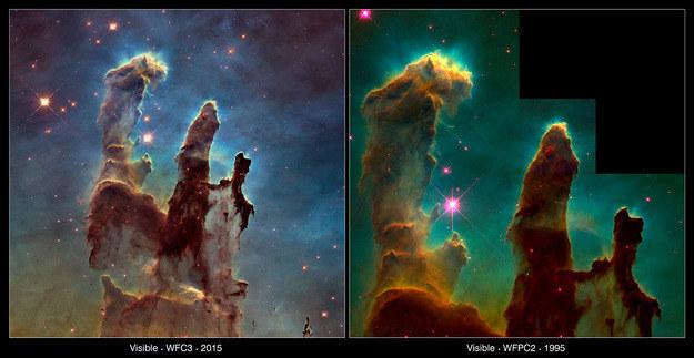 Porównanie najnowszego obrazu z tym sprzed blisko 20 lat. /NASA
