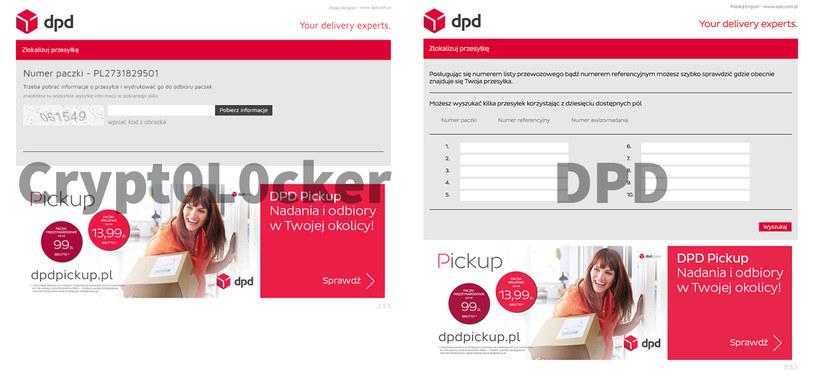 Porównanie oryginalnej strony DPD (po prawej) z fałszywą witryną /materiały prasowe
