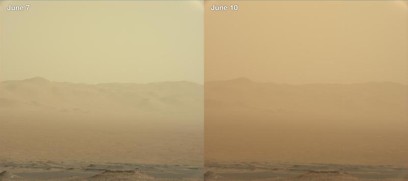Porównanie zapylenia na Marsie 7 i 10 czerwca. Zdjęcia wykonane przez łazik Curiosity /NASA/JPL-Caltech/MSSS /Materiały prasowe