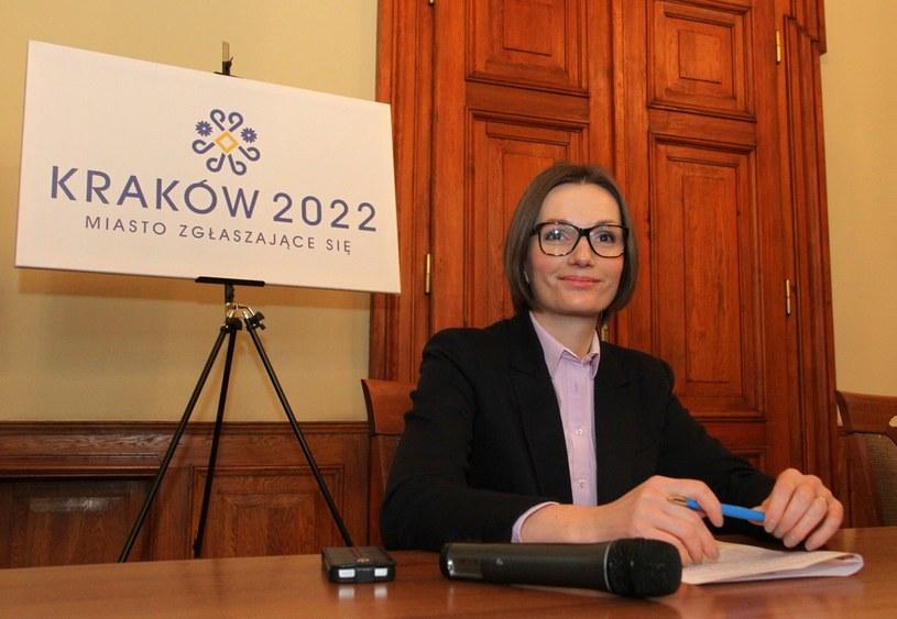 Posłanka PO Jagna Marczułajtis-Walczak podczas prezentacji logotypu Zimowych Igrzysk Olimpijskich Krakow 2022 /Jan Graczyński /East News