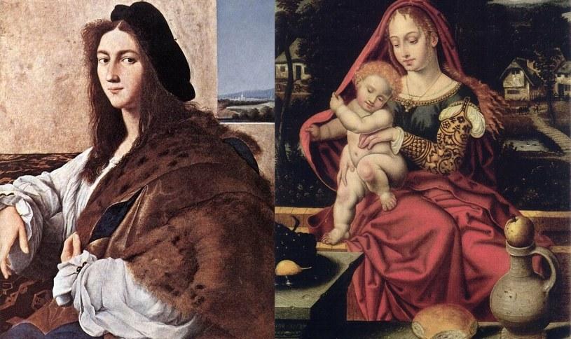"""Poszukiwane obrazy - """"Portret młodzieńca (Rafael Santi) oraz """"Madonna z Dzieciątkiem"""". Zdjęcia pochodzą z katalogu strat wojennych /Ministerstwo Kultury i Dziedzictwa Narodowego"""