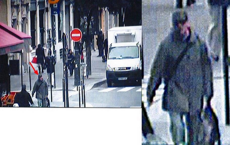 Poszukiwany napastnik, zdjęcia z kamery paryskiego monitoringu /FRENCH POLICE /PAP/EPA