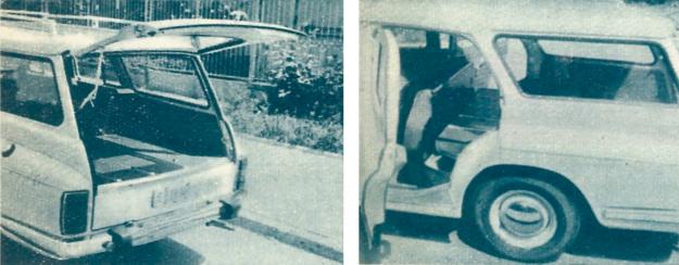 Powierzchnia ładunkowa przy normalnym ustawieniu tylnego siedzenia i po jego przesunięciu do przodu. Gdyby oparcie było dzielone tak jak w Skodzie 1000, można by przewozić dłuższe przedmioty i trzech pasażerów. /Motor