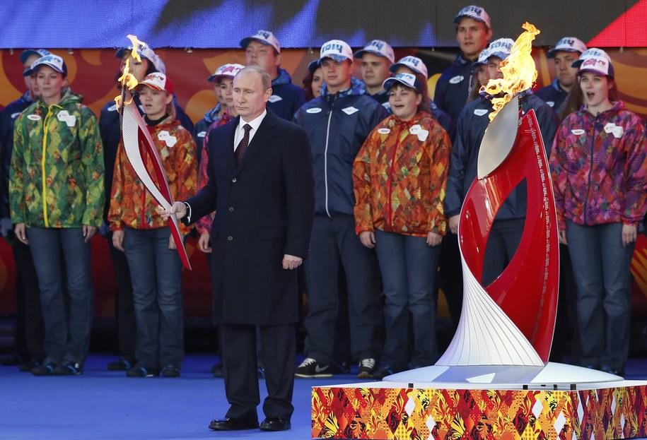 Powitanie olimpijskiego ognia na Placu Czerwonym /YURI KOCHETKOV /PAP/EPA