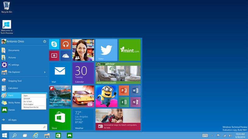 Powraca Menu Start - nowa wersja to połączenie Windows 7 i Windows 8 /materiały prasowe