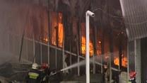 Pożar hali Polmozbytu w Łodzi