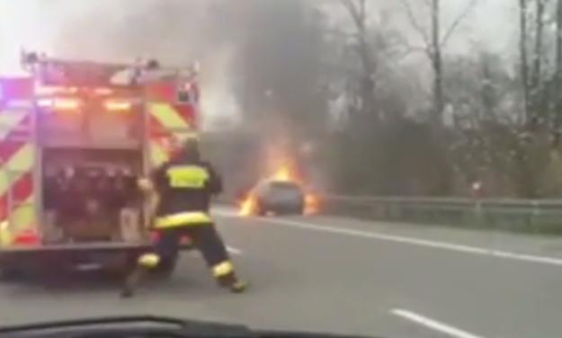 Pożar na A4 /TVN24.pl