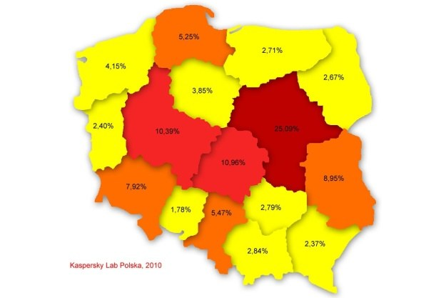 Poziom infekcji w poszczególnych województwach, lipiec 2010 /materiały prasowe