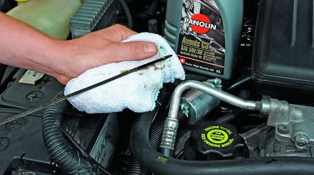 Poziom oleju sprawdzamy bagnetem. Ma mieścić się między max. i min. /Motor