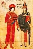 Prawoslawie: papież Leon IX wyklina patriarchę Konstantynopola Michała Kerulariosa, miniatura wł /Encyklopedia Internautica
