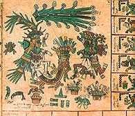 Prekolumbijska sztuka: miniatura z kalendarza przepowiedni, fragment Kodeksu Borbinicus, po 1521 /Encyklopedia Internautica