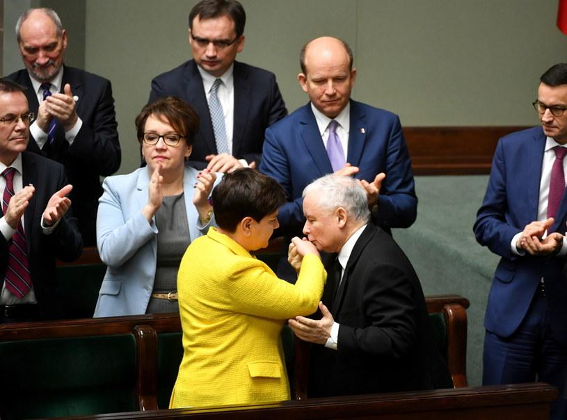 Premier Beata Szydło i prezes PiS Jarosław Kaczyński w Sejmie /Bartłomiej Zborowski /PAP
