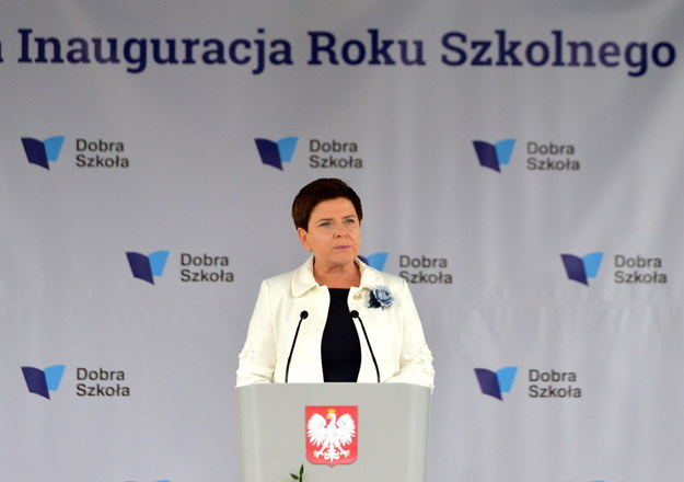 Premier Beata Szydło podczas ogólnopolskiej inauguracji nowego roku szkolnego w Dobrzechowie w woj. podkarpackim /PAP