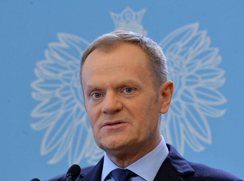 Premier Donald Tusk podczas konferencji prasowej. /Radek Pietruszka /PAP